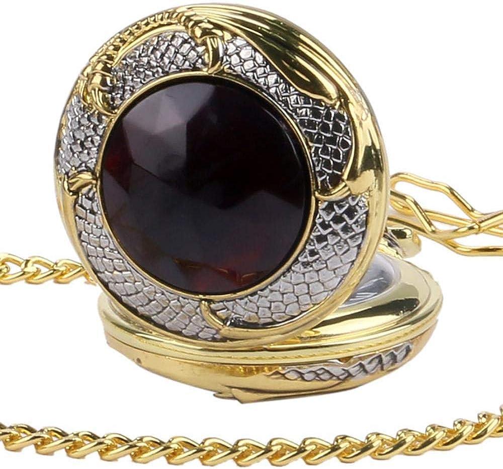 LEYUANA Reloj de Bolsillo con Cubierta en Tono Dorado Rojo, Reloj de Cuarzo, Colgante de Piedras Preciosas Vintage