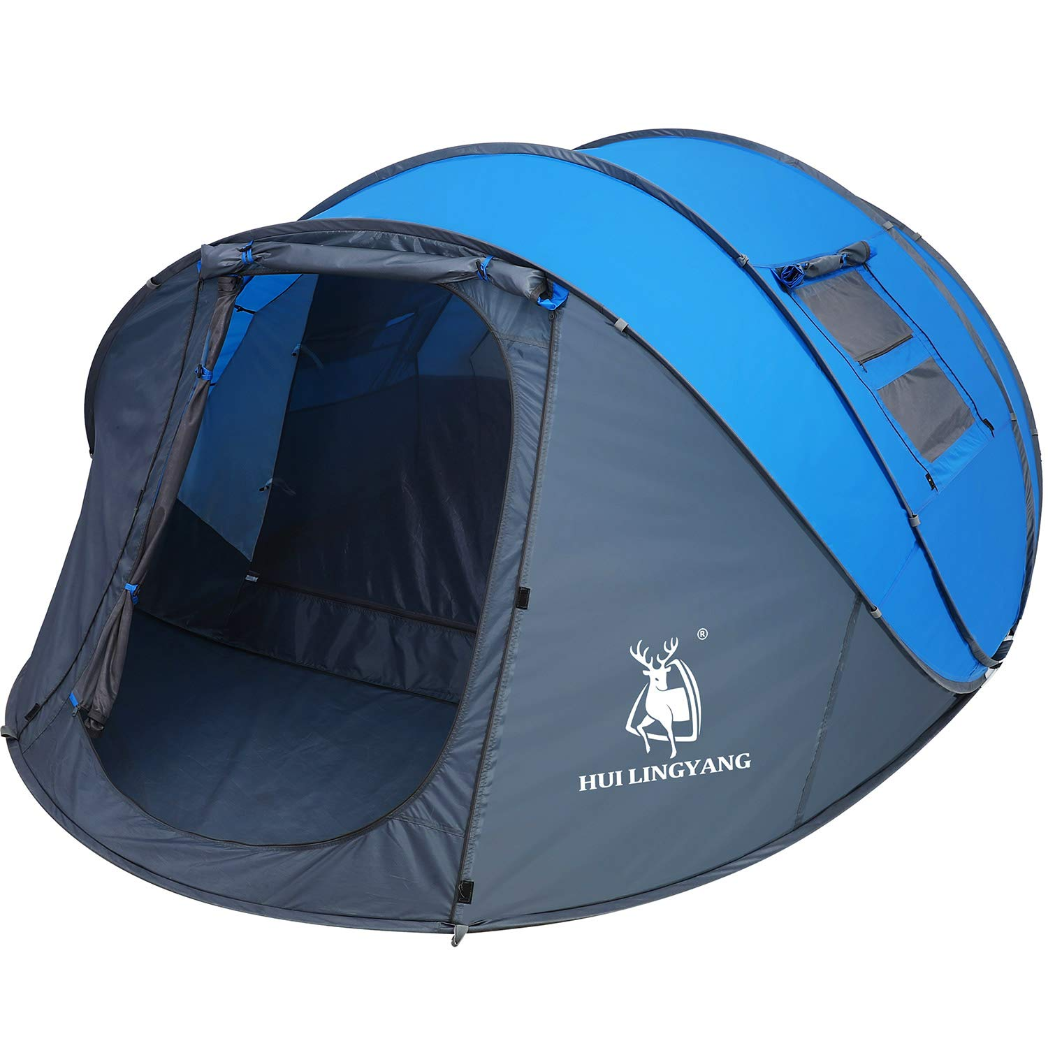 HUI LINGYANG 6 Person Easy Pop Up Tent- Rainproof, Automatic Setup,Waterproof,Double Layer - Instant Family Tents for Camping,Hiking & Traveling,Blue by HUI LINGYANG