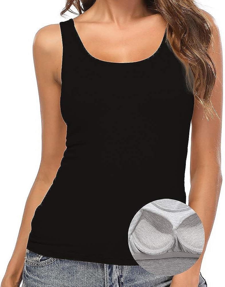 SLIMBELLE Camiseta de Tirantes Mujer B/ásica Camisetas con Sujetador Interior sin Aros Cuello Redondo 1//2//3-Pack para Copa A-C