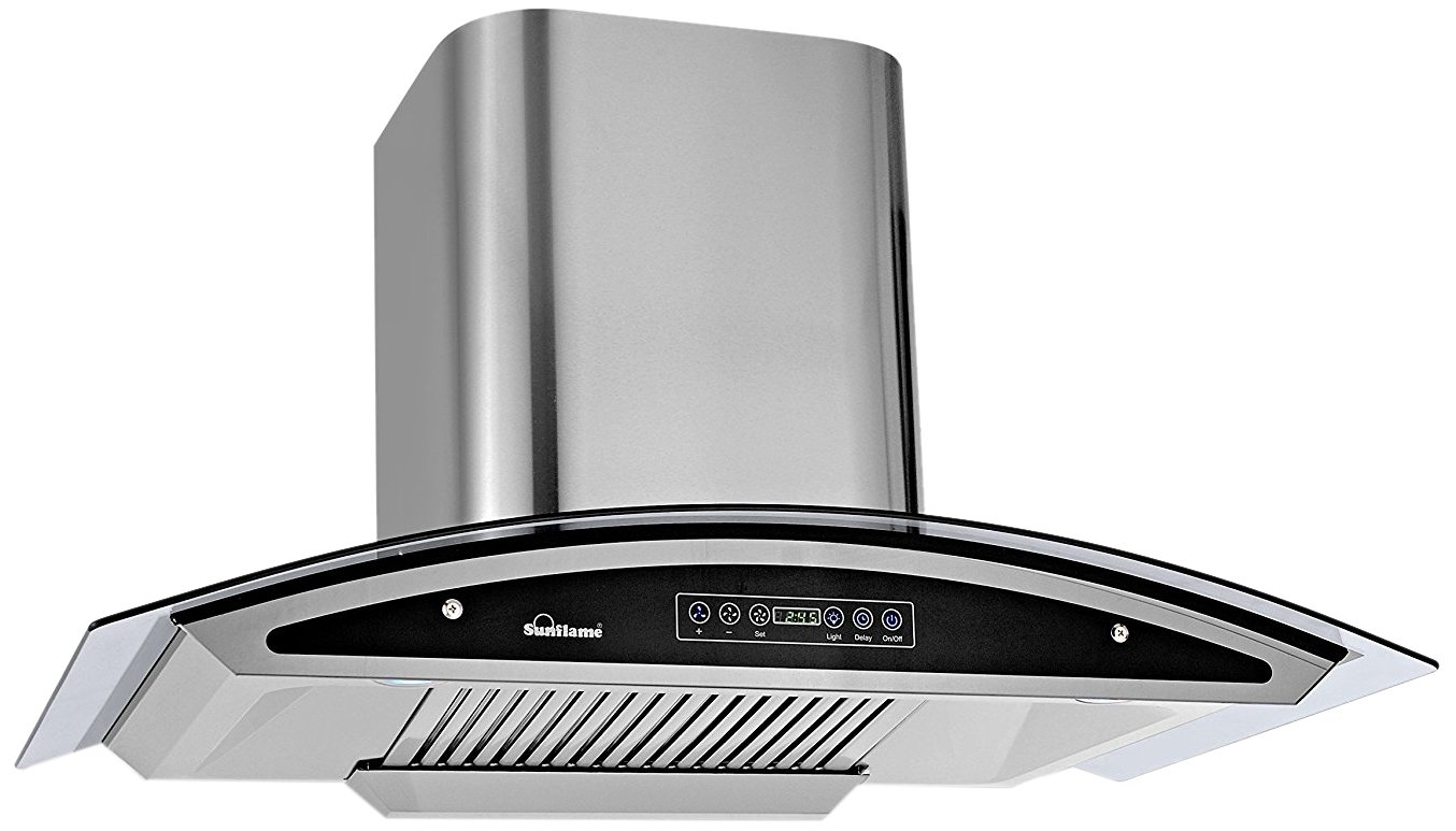 Sunflame 90cm 1100 m3/hr Auto Clean Ductless Chimney (Innova, Baffle+Charcoal Filter, Touch Control, Steel/Grey)