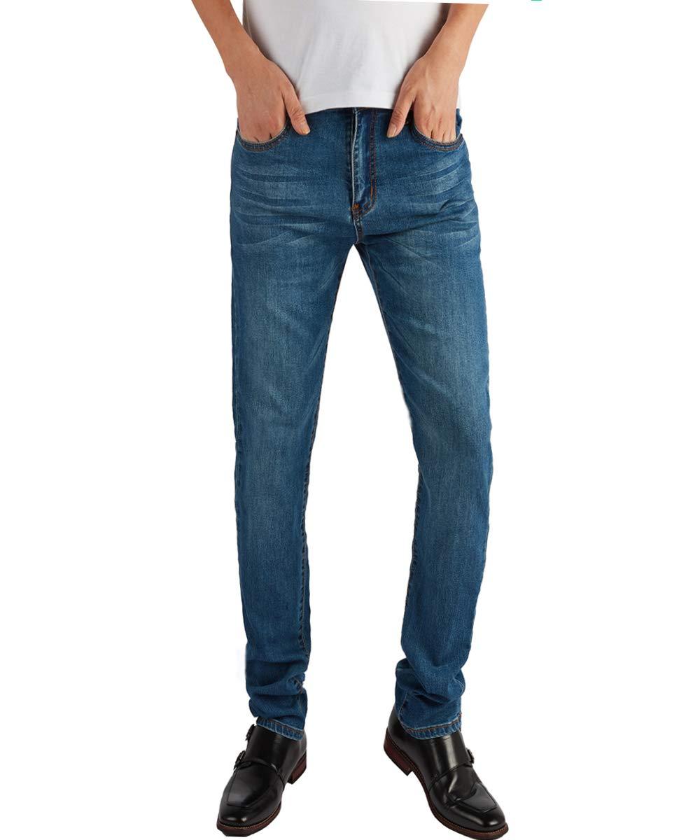 YIMANIE Men's Rugged Wear Classic Fashion Stretch Slim Fit Straight Leg Denim Jean