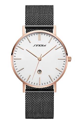 SINOBI - Reloj de Pulsera para Hombre, Ultra Delgado, Minimalista, Correa de Malla de Acero Inoxidable, Unisex: Amazon.es: Relojes