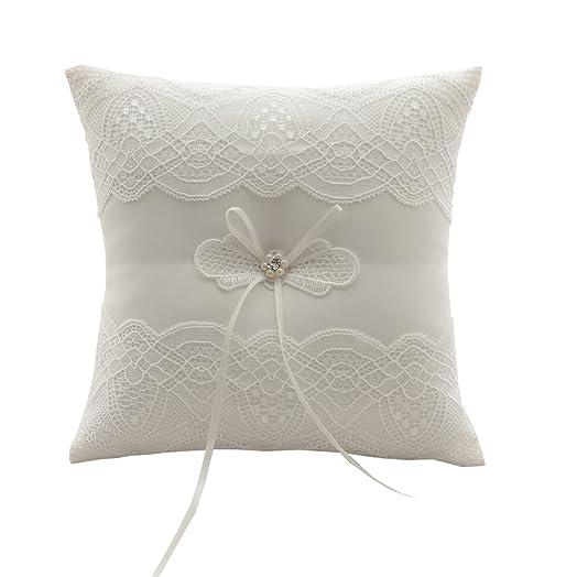 SILKTALK Romantic Handmade Wedding Ring Pillow Eyelash Lace Bow Satin Cushion Bearer 19cm19cm