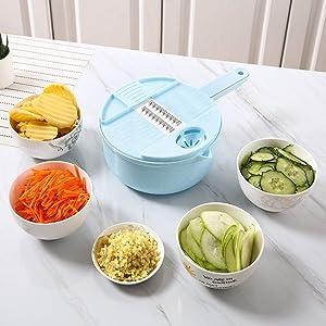 Fruit and vegetable slide set 10 IN 1, Vegetable Mandoline Slicer, Kitchen Multipurpose, Food Chopper Dicer Pro Fruit Veggie Chopper, Vegetable Cutter Grater Mandoline Slicer (Blue)