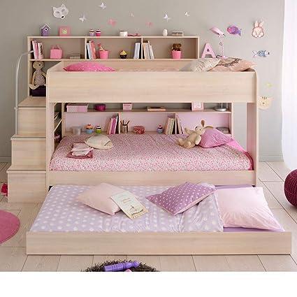 Happy Beds - Litera de madera con cajón de almacenamiento para debajo de la cama,