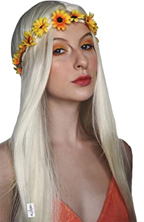 ALLAURA Hippie Wig Women 70s Costume Removable Flower Headband Accessories Girls Long Blonde Hippy Woodstock Wigs