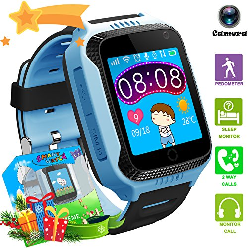 Kids Smartwatches with GPS Flash Night Light Touch Screen Anti-lost Alarm Smart Watch Bracelet for Children Girls Boys Compatible for iPhone Android (001 G3S Blue GPS+LBS)