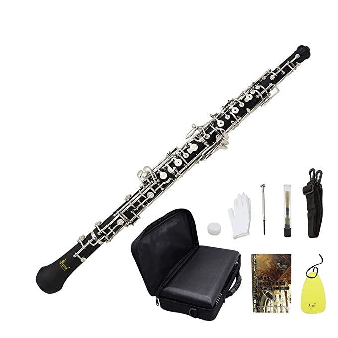 Oboe C Cupronickel Llave Profesional Oboe C Bañado en Plata Silbato para Principiantes con el Bolsa Correa Reed Guantes Funda de Piel Gamuza de Limpieza ...