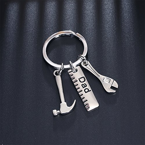 Men Gift Dad Ruler Wrench Hammer Key Chain Ring Tool Charms Pendant My Dad Can Fix Anything Father's Day Photo #5
