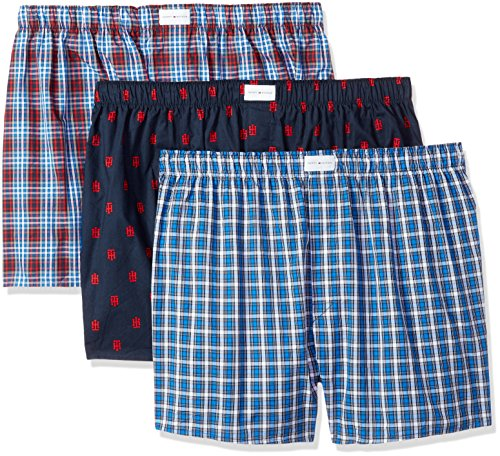 Tommy Hilfiger Men's Underwear 3 Pack Cotton Classics Woven Boxers (Red Plaid), Red Plaid Logo Print/Blue Plaid, ()