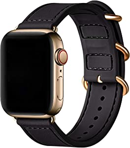 BesBand Compatible with Apple Watch Bands 44mm 42mm 40mm 38mm for Women Men,Soft Silicone Sport Strap Replacement Band for Apple Watch SE & iWatch Series 6/5/4/3/2/1 (Black/Gold, 42mm 44mm)