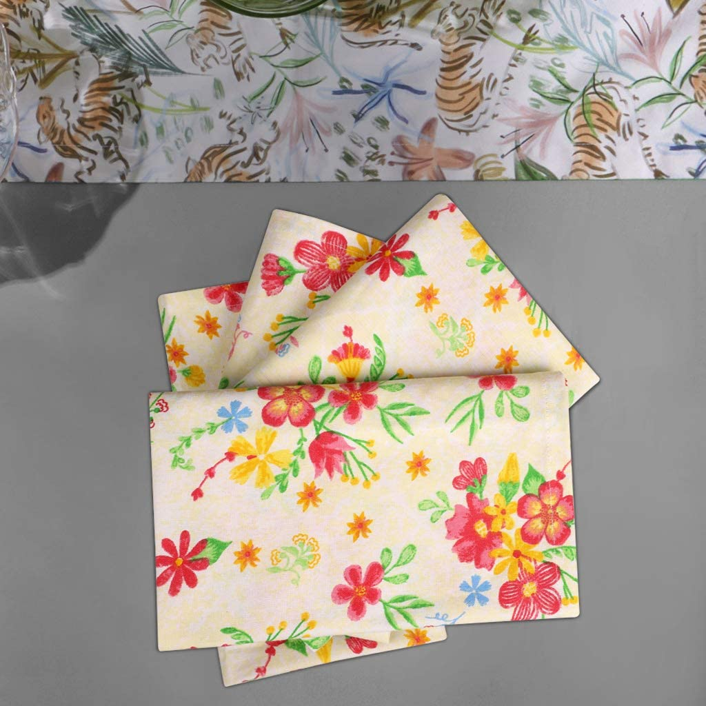 100/% Cotton Set of 12 Multi Color Over sized Cloth Napkins with Mitered Corners Size 51X51 CMS Ultra Soft Urban Villa,Floral Print,Premium Quality,Dinner Napkins Durable Hotel Quality
