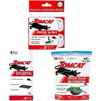 Tomcat Press 'N Set Mouse Trap (2 Pack) with Mouse Glue Trap w/Eugenol (6 Pack) and Tier 1 Refillable Mouse Bait Station