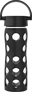 product image for Lifefactory 16-Ounce BPA-Free Glass Water Bottle with Classic Cap and Protective Silicone Sleeve, Onyx