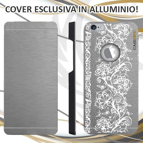 CUSTODIA COVER CASE FIORI FARFALLE RICAMO BIANCO PER IPHONE 6S ALLUMINIO TRASPARENTE