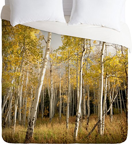 DENY Designs  Bird Wanna Whistle Golden Aspen Duvet Cover, Queen
