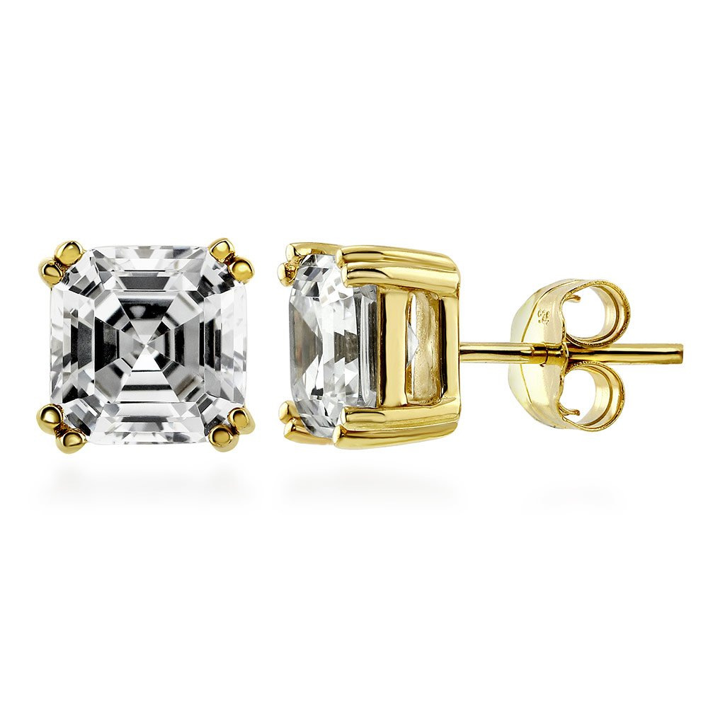 BERRICLE Yellow Gold Flashed Sterling Silver Asscher Cut Cubic Zirconia CZ Solitaire Anniversary Wedding Stud Earrings 6mm 2.48 CTW
