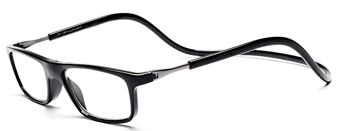 c3f19b593b5e Click Magnetic Reading Glasses Adjustable Front Connect Reader Black03 100