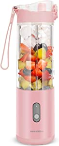 Portable Blender Smoothies Blender on the go Single Serve for Travel - for Mixing Fruit Juice, Milk, Small Ice with 13 Oz on the Go Blender Cup, Pink Color, 24000mAh