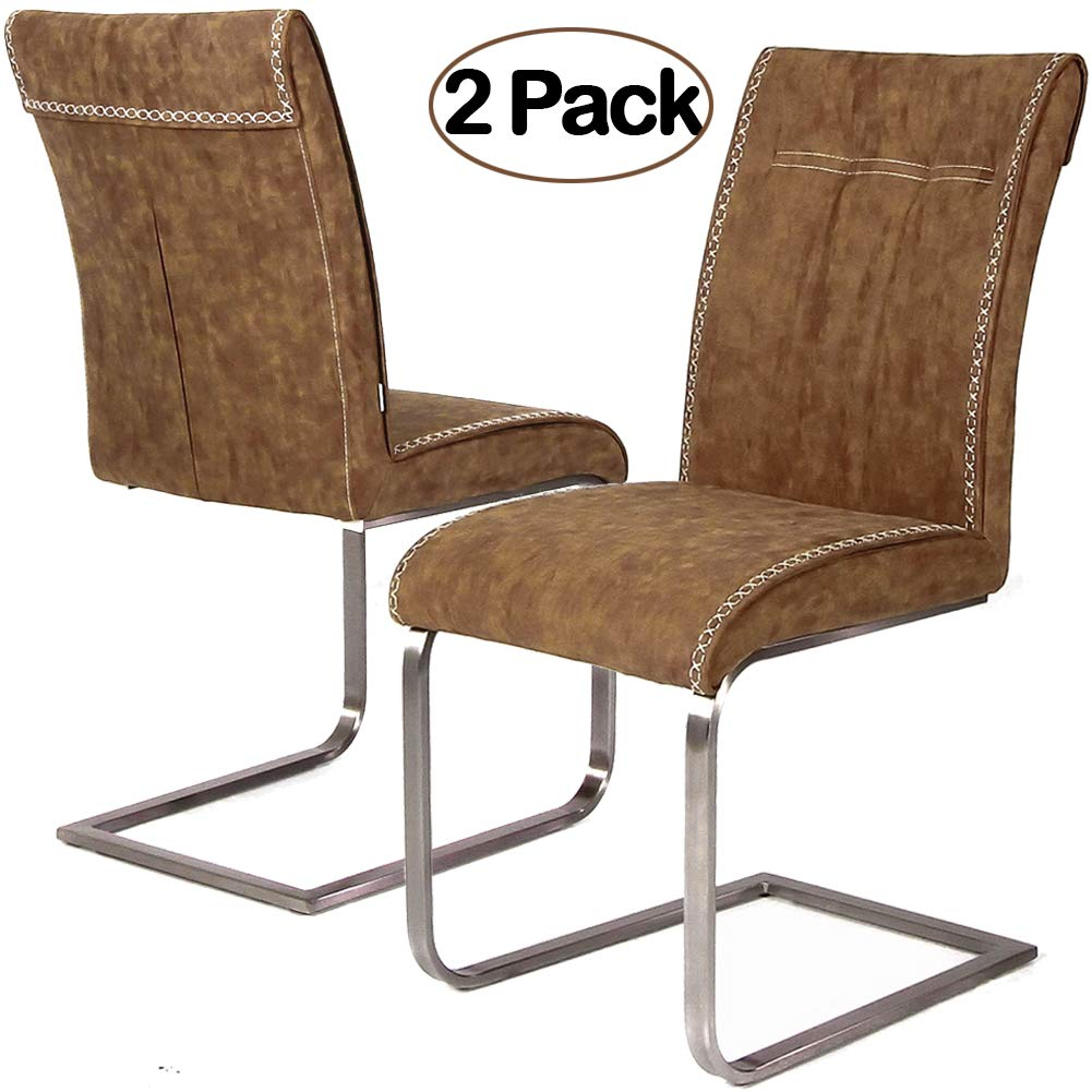 Ambiendi 2er Set Esszimmerstühle Schwingstuhl Vintage PU Auge Gebürsteter Edelstahl Freischwinger Stühle (Hellbraun)