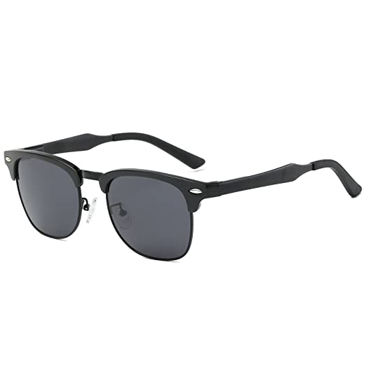 29989730e0d Galulas Classic Retro Square Semi-Rimless Clubmaster Women and Men  Sunglasses Al-Mg Polarized