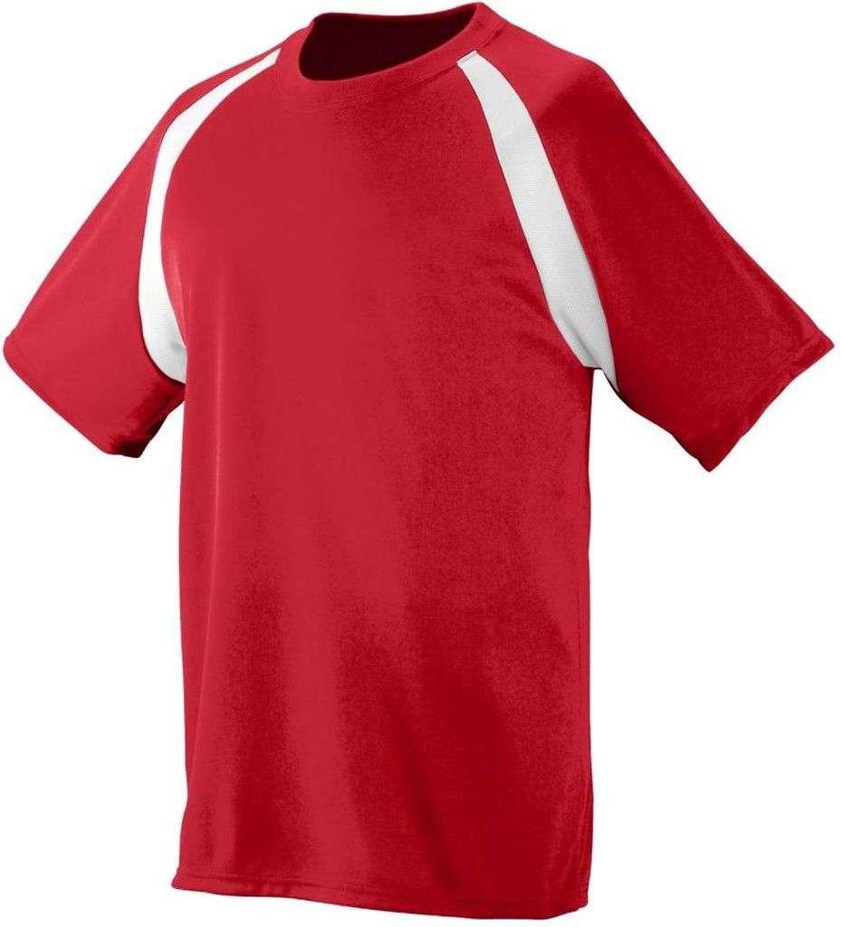 Augusta Sportswear Boys ' Wickingカラーブロックジャージー B00ELHJEPKレッド/ホワイト Medium
