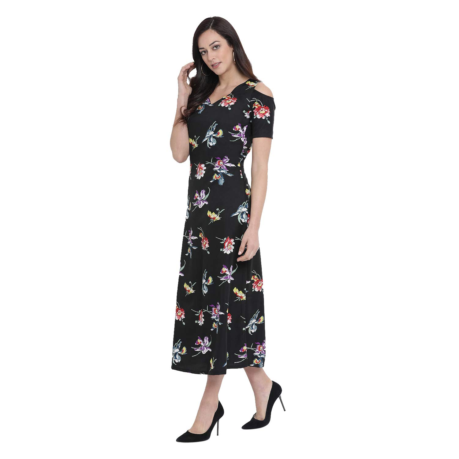 55e9f85696 Fabnest Womens Crepe Black Floral Print Cold Shoulder Maxi Dress:  Amazon.in: Clothing & Accessories