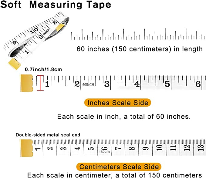 Double Scale Measuring Tape Size150cm//60inch LOAVER White Tape Measure