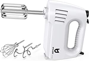 Hand Mixer Electric, Utalent 300W (Peak Power) Multi-speed Hand Mixer with Turbo Button, Easy Eject Button and 5 Attachments (Beaters, Dough Hooks, and Whisk)