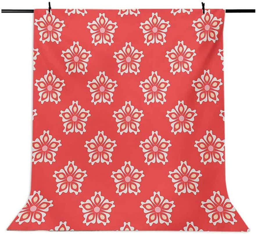 Coral 8x10 FT Photo Backdrops,Abstract Tribal Pattern Various Female Girl Floral Victorian Shapes Artwork Background for Baby Shower Birthday Wedding Bridal Shower Party Decoration Photo Studio