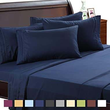 EASELAND 6-Pieces 1800 Thread Count Microfiber Bed Sheet Set-Wrinkle & Fade Resistant,Deep Pocket,Hypoallergenic Bedding Set,Queen,Navy