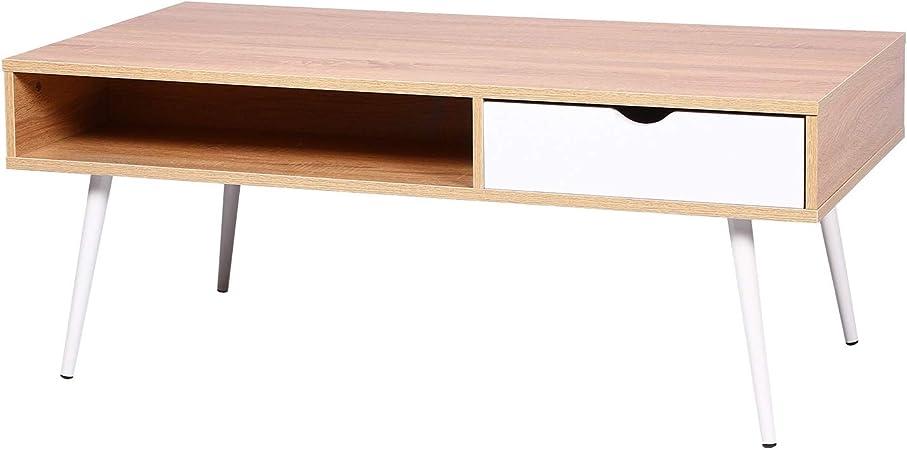 E Starain Meuble Tv Avec 1 Tiroirs Table Basse En Bois Scandinave Design Chêne Claire 120 60 47cm