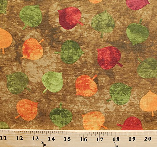 Cotton Falling Leaves Leaf Toss Nature Outdoors Autumn Fall Brown Marble Painting-Look Artisan Spirit Cotton Fabric Print by the Yard ()