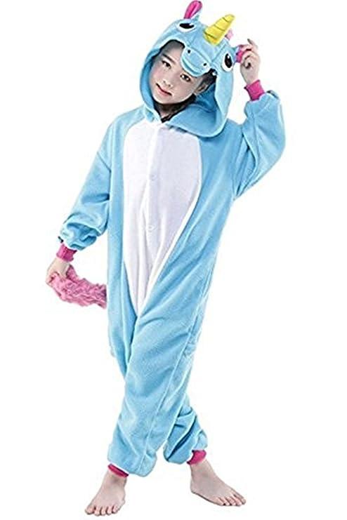 Missley Adulto Unisex Flanela Unicornio Cartoon Animal Novedad Halloween Pijama Cosplay (85CM, Blue-