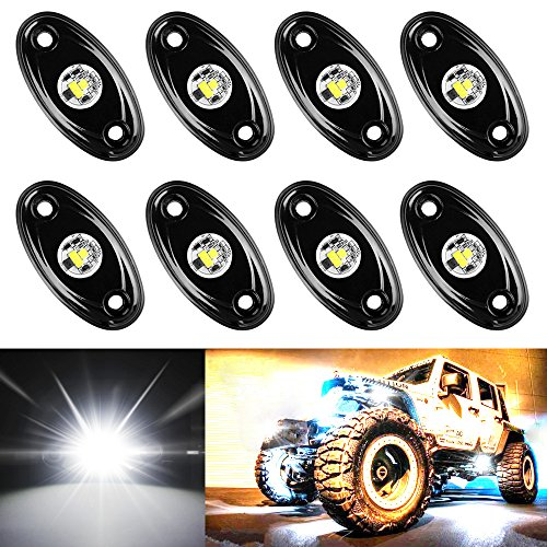 (Amak 8 Pods LED Rock Lights Kit White Underbody Glow Trail Rig Light Waterproof Underglow LED Neon Lights for JEEP Off Road Trucks Car ATV SUV Vehicle Boat - White)