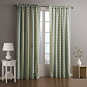 "twopages Contemporary Cold Colors Overlapping Curves Geometric Curtain 50Wx96""L (One Panel)"
