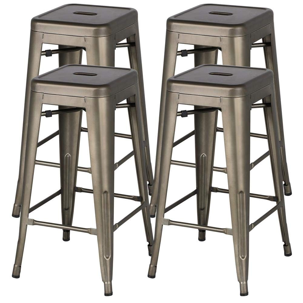 Yaheetech 30 inches Metal Bar Stools High Backless Bar Height stools Stackable Chairs,Set of 4,Metal by Yaheetech