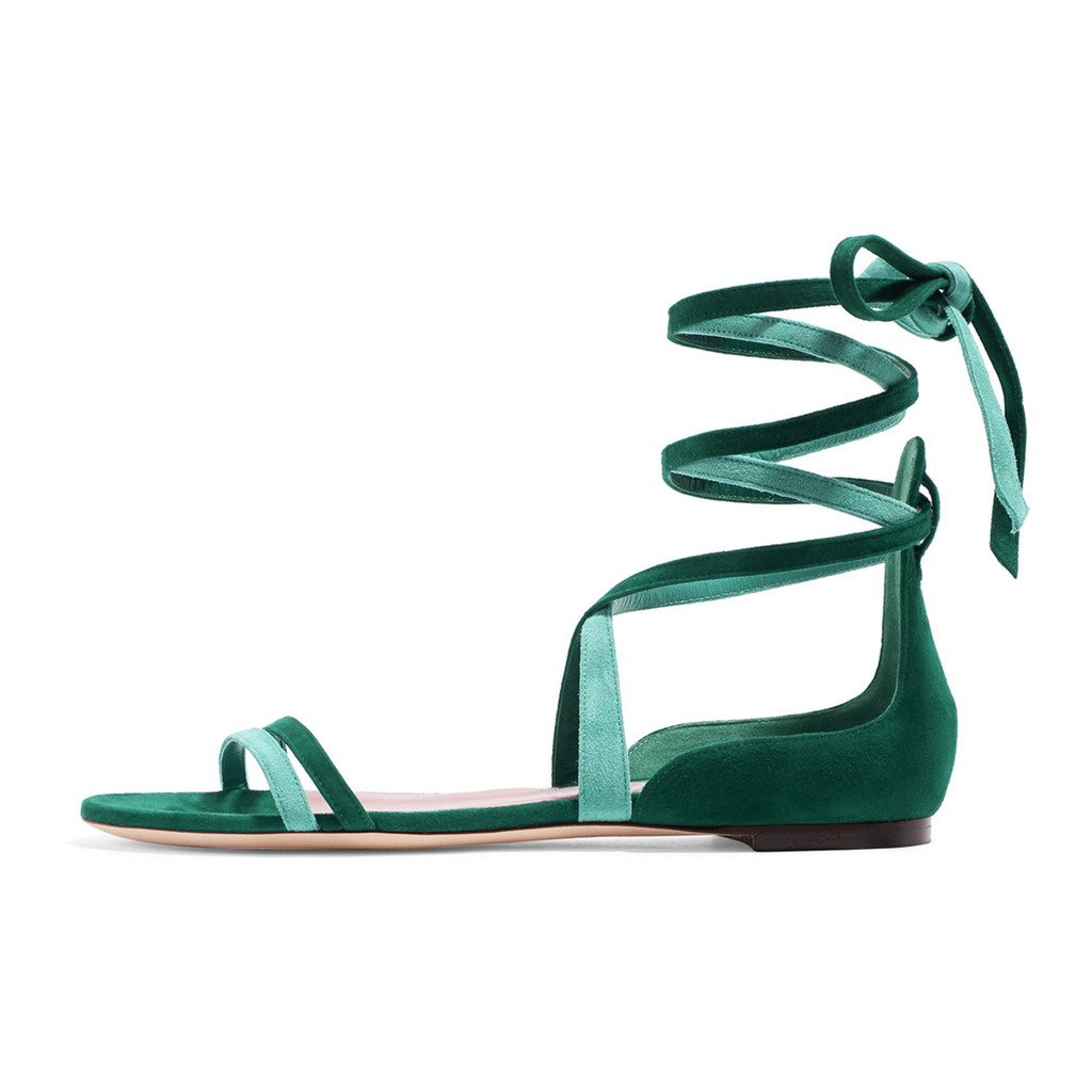 YDN Women's Suede Lace Up Flats Sandals Open Toe Ankle High Gladiator Shoes Comfy B0749KTH4J 12 B(M) US Mix-green