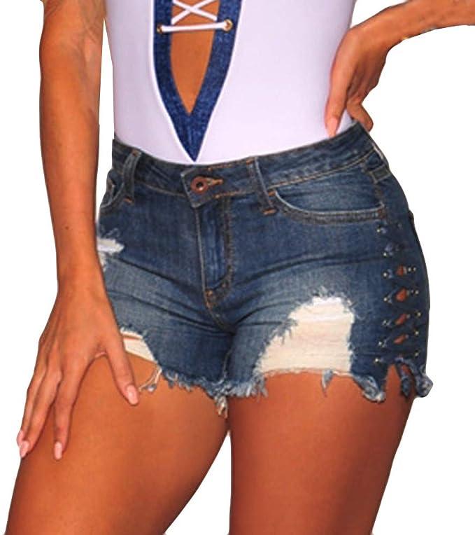 FONMA Fashion Women Summer High Waist Ripped Denim Jeans Beach Pants Hot Shorts Jeans