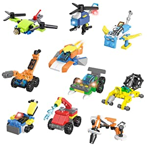 Jellydog Toy Mini Building Blocks Vehicles, 10 in 1 Vehicles Building Sets,Party Favors for Kids, Stem Learning Toys, Mini Building Blocks Sets for Goodie Bags, Prize,Cake Topper