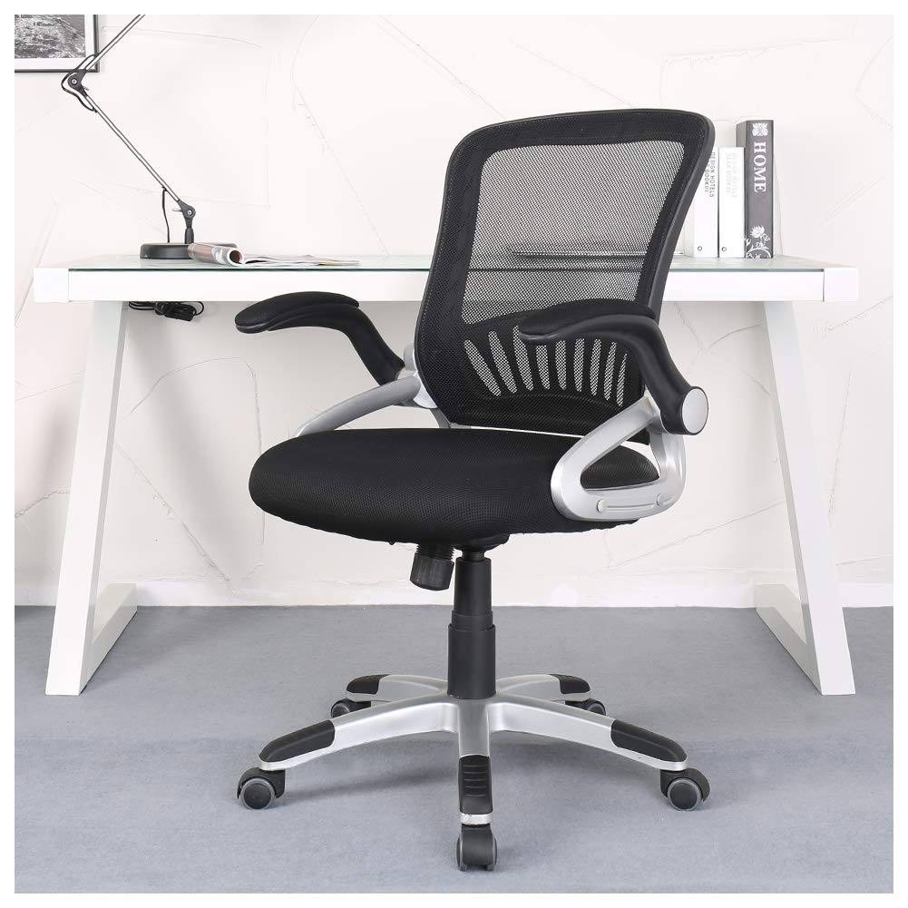 Zenith Ergonomic Mid Back Mesh Office Chair with Adjustable Armrest Swivel Task Chair Desk Chair Computer Chair Guest Chairs Reception Chairs (Black)