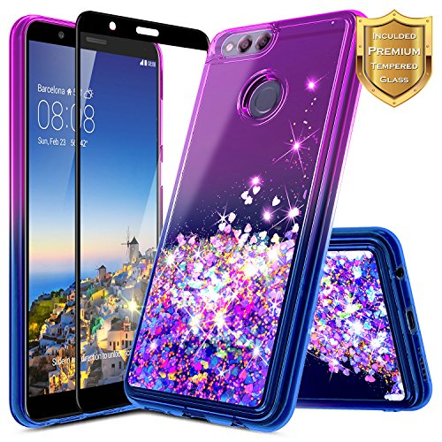 NageBee For Huawei Honor 7X Case, Huawei Mate SE Case w/[Full Coverage Tempered Glass Screen Protector] Quicksand Liquid Floating Glitter Flowing Shiny Sparkle Bling Cute Case (Purple/Blue)