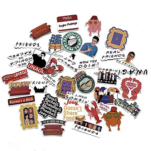 Sticker Pack Friends - A Sticker Shop 34pcs Friends tv Show Creative DIY Stickers Funny Decorative Cartoon for Cartoon PC Luggage Computer Notebook Phone Home Wall Garden Window Snowboard