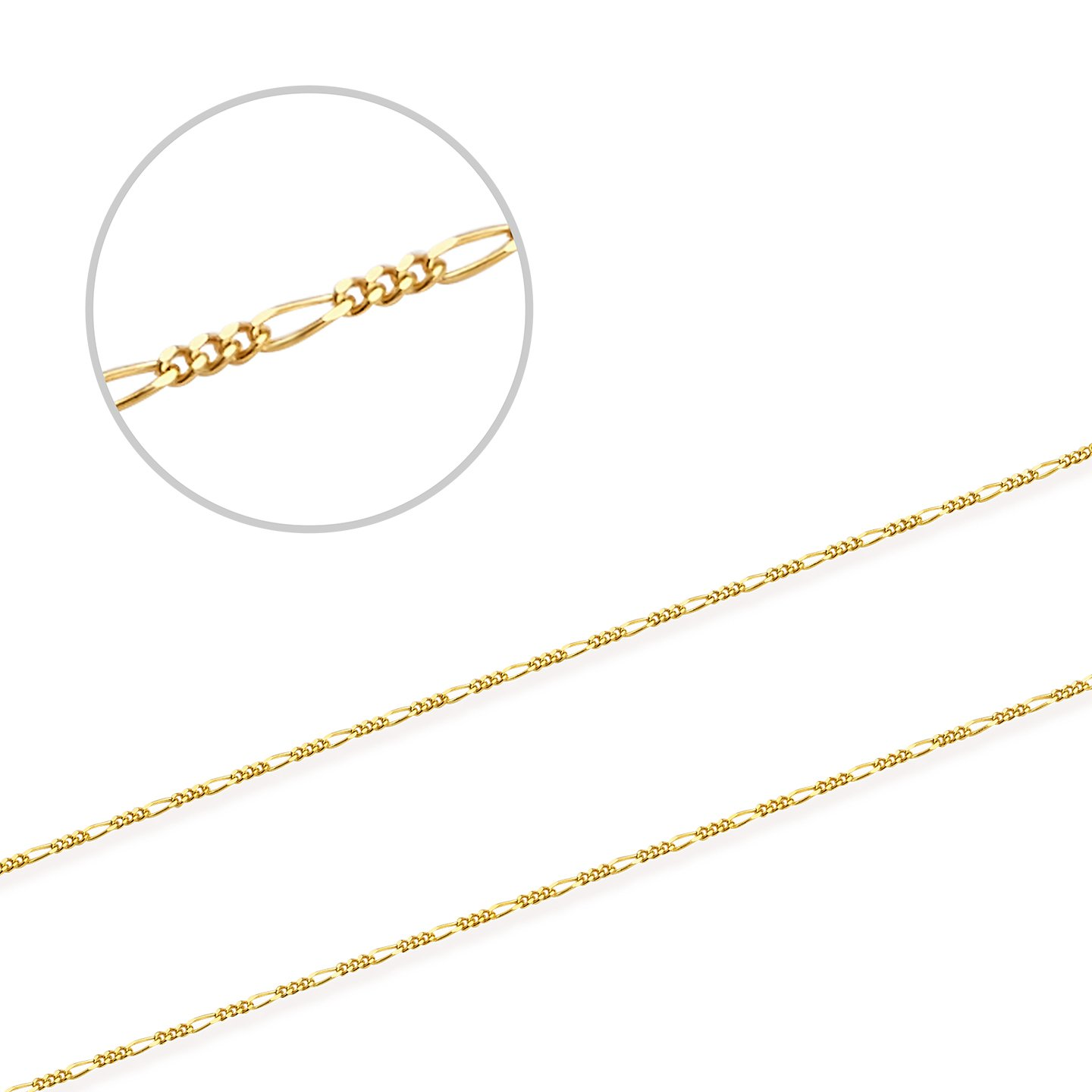 Thin and Strong 18'' Figaro Chain in 14K Yellow Gold
