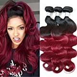 XiaoYuan Ombre Peruvian Hair 3 Bundles Body Wave 1B/Burgundy 99j 8A Peruvian Virgin Hair Ombre Hair Extensions (20″22″24″) For Sale