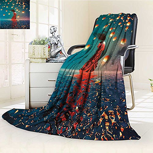 YOYI-HOME Duplex Printed Blanket,Suitable for Fall Winter Summer Spring Sorcerer Woman with Red Dress Standing on Water with Lanterns on Air Navy Blue Warm Elegant Cozy Fuzzy Fluffy Faux/W47 x H79