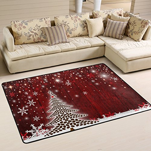Naanle Winter Holiday Area Rug 4'x6', Christmas Tree Snowflake Polyester Area Rug Mat for Living Dining Dorm Room Bedroom Home - Rug Christmas Tree