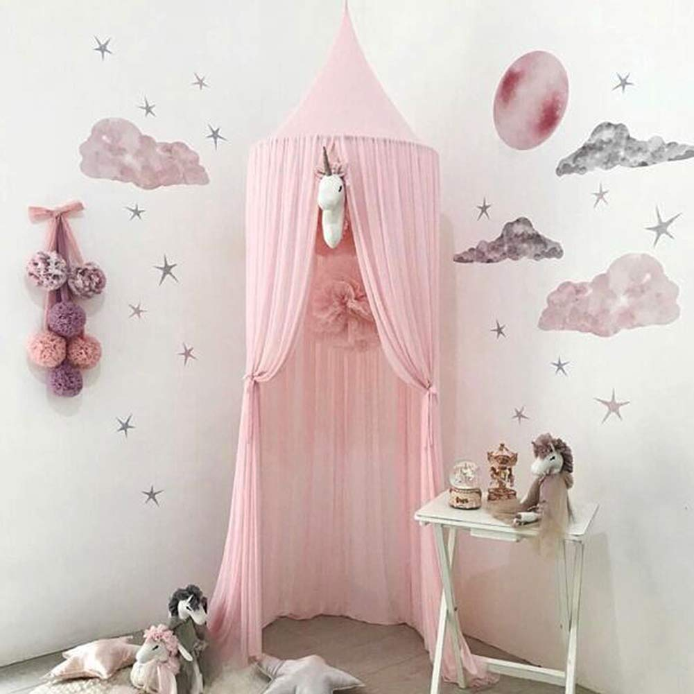 Bed Canopy for Children,Chiffon Mosqutio Net,Baby Indoor Outdoor Play Reading Tent, Bed & Bedroom Decoration (Pink)