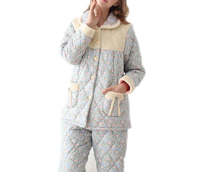 Invierno Pijamas De Algodón De Tres Capas Más Gruesas Pijamas De Algodón Tejidas De Otoño E