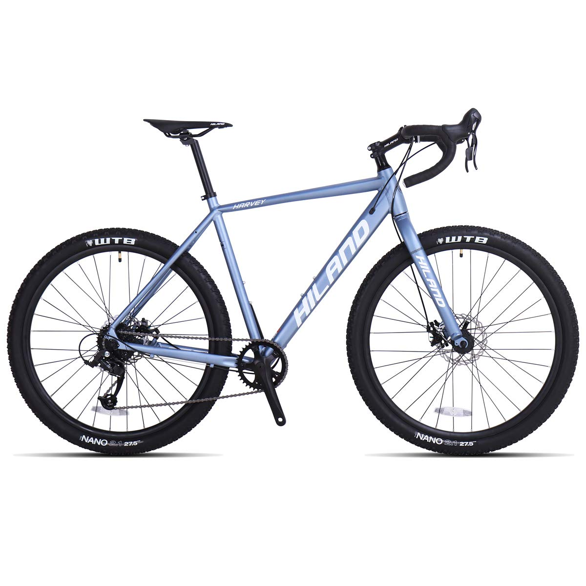 Hiland Gravel Bike for Men and Women Road Adventure Cyclocross Adult Teenager Youth Boys Girls Sport Bicycle, 650B Wheels 24 speeds Bikes Blue 58cm by HH HILAND